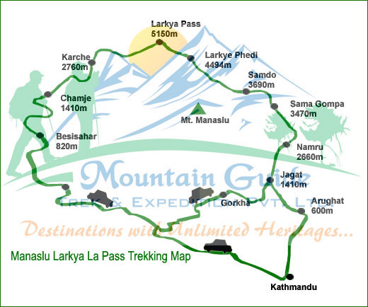 Manaslu Larkya La Pass Circuit Trekking map