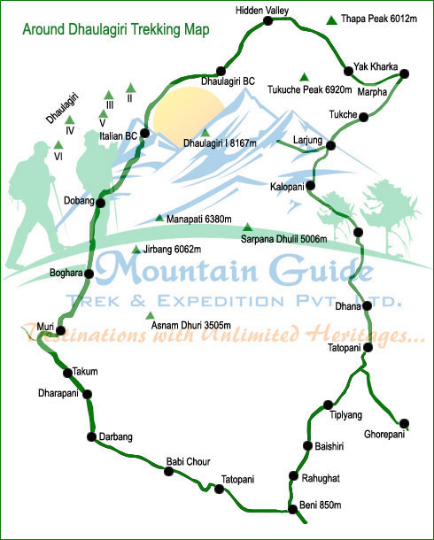 Around Dhaulagiri Trekking map