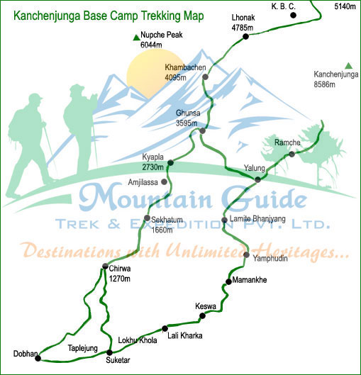 Kanchenjunga Base Camp Trekking map